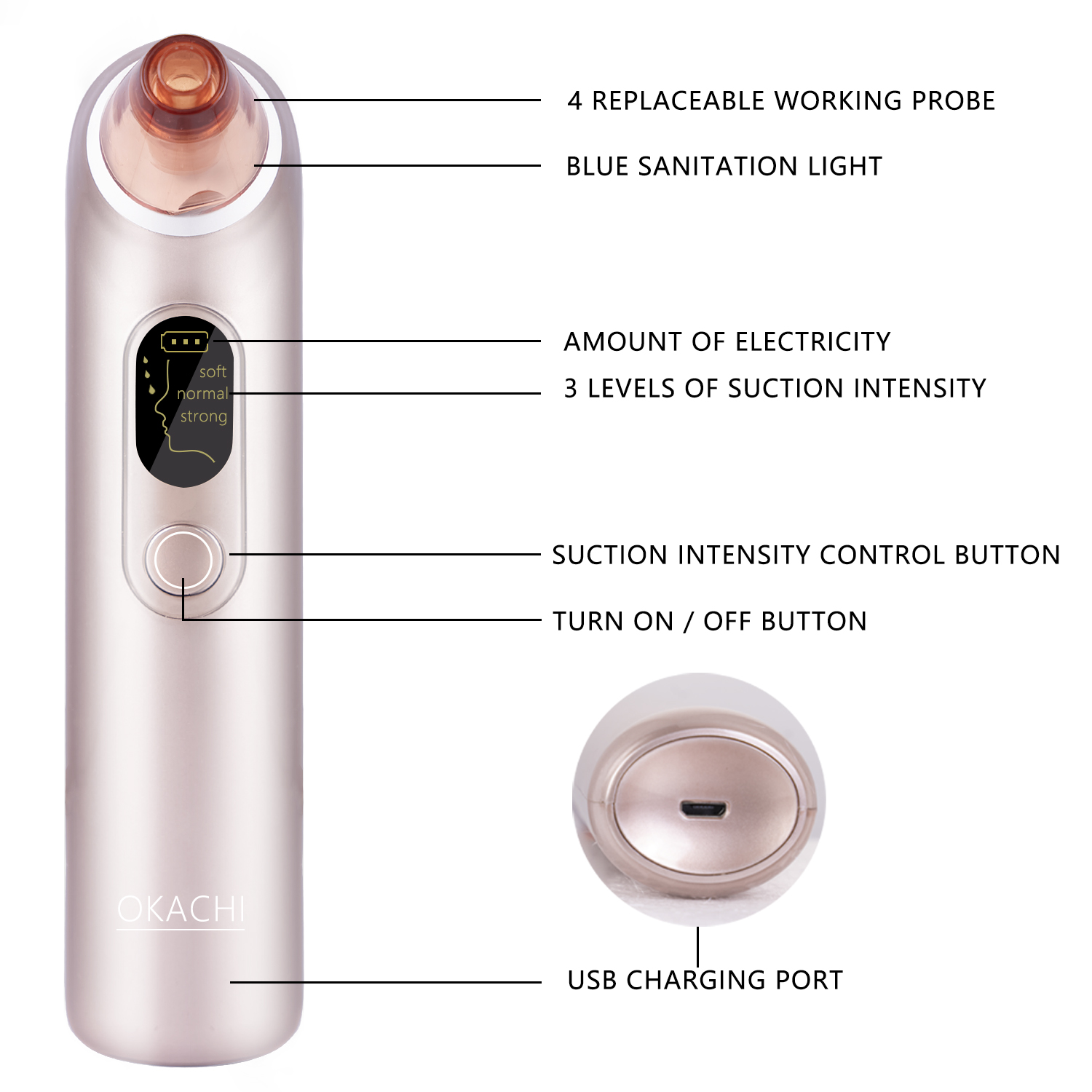 USB Rechargeable Blackhead Suction Tool